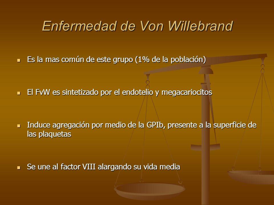 Enfermedad de Von Willebrand Es la mas común de este grupo (1% de la población) Es la mas común de este grupo (1% de la población) El FvW es sintetiza