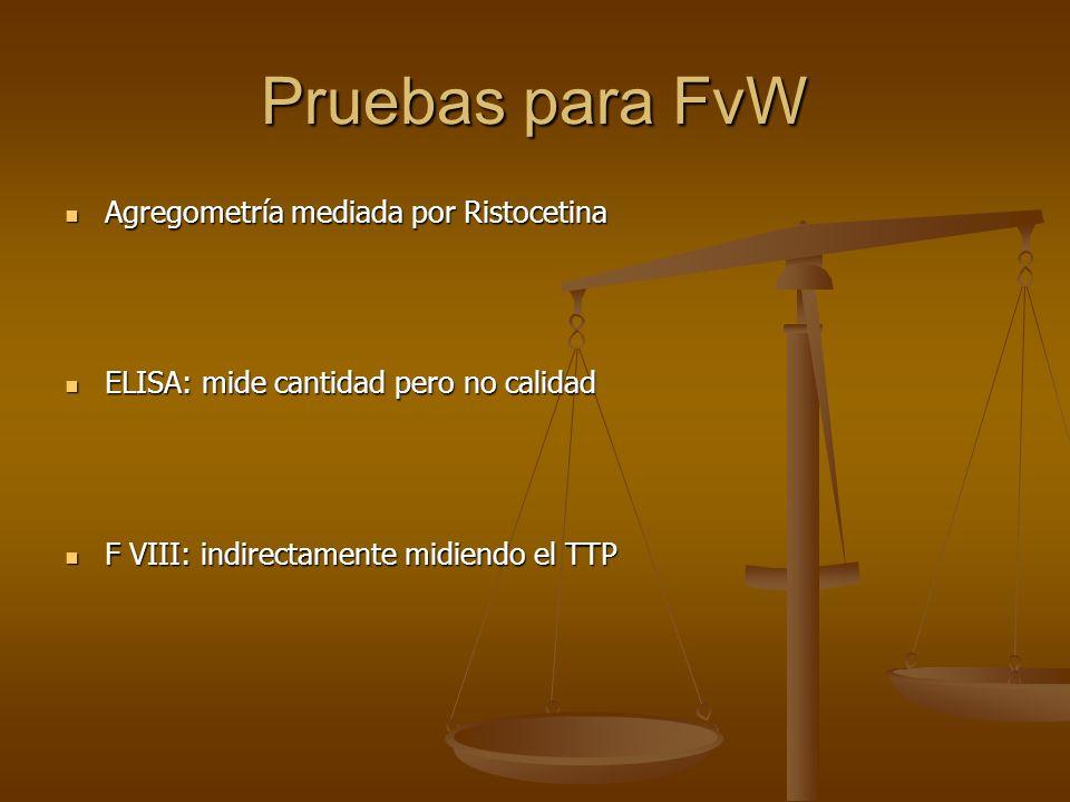 Pruebas para FvW Agregometría mediada por Ristocetina Agregometría mediada por Ristocetina ELISA: mide cantidad pero no calidad ELISA: mide cantidad p