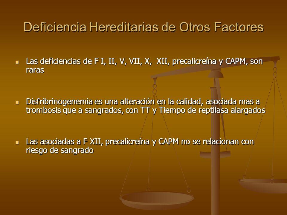 Deficiencia Hereditarias de Otros Factores Las deficiencias de F I, II, V, VII, X, XII, precalicreína y CAPM, son raras Las deficiencias de F I, II, V