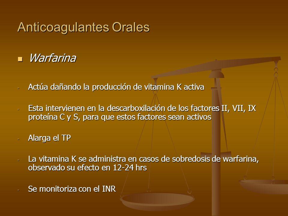 Anticoagulantes Orales Warfarina Warfarina - Actúa dañando la producción de vitamina K activa - Esta intervienen en la descarboxilación de los factore