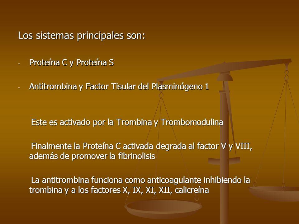 Los sistemas principales son: - Proteína C y Proteína S - Antitrombina y Factor Tisular del Plasminógeno 1 Este es activado por la Trombina y Trombomo