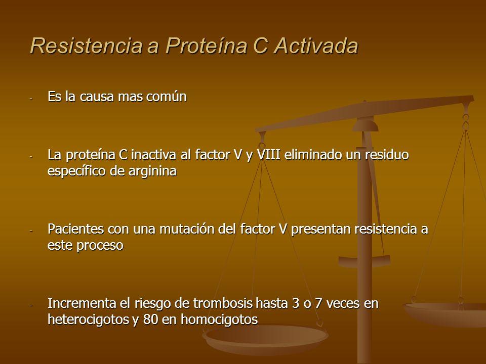 Resistencia a Proteína C Activada - Es la causa mas común - La proteína C inactiva al factor V y VIII eliminado un residuo específico de arginina - Pa