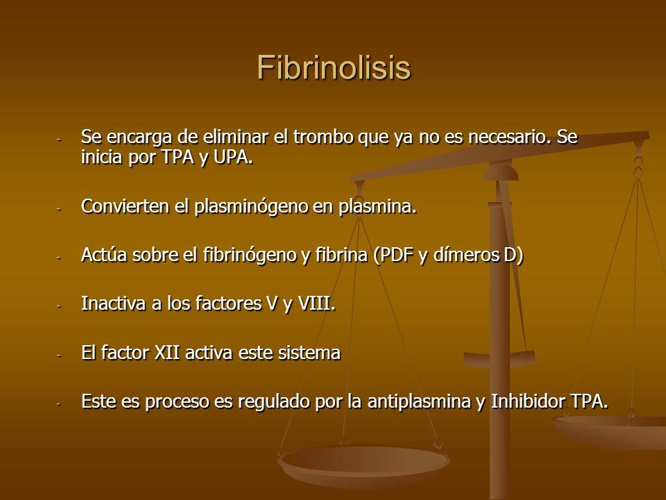 Fibrinolisis - Se encarga de eliminar el trombo que ya no es necesario. Se inicia por TPA y UPA. - Convierten el plasminógeno en plasmina. - Actúa sob