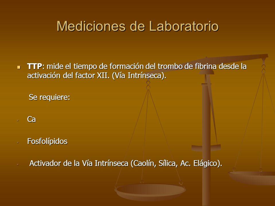 Mediciones de Laboratorio TTP: mide el tiempo de formación del trombo de fibrina desde la activación del factor XII. (Vía Intrínseca). TTP: mide el ti