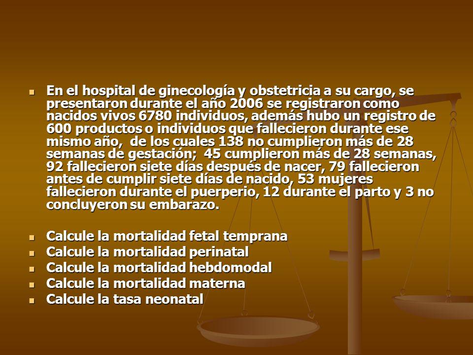 En el hospital de ginecología y obstetricia a su cargo, se presentaron durante el año 2006 se registraron como nacidos vivos 6780 individuos, además h