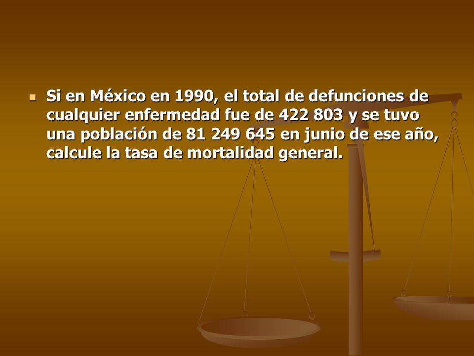 Si en México en 1990, el total de defunciones de cualquier enfermedad fue de 422 803 y se tuvo una población de 81 249 645 en junio de ese año, calcul