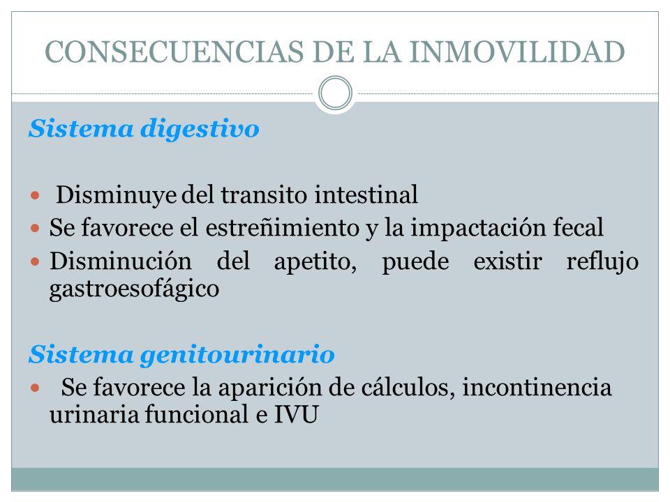CONSECUENCIAS DE LA INMOVILIDAD Sistema digestivo Disminuye del transito intestinal Se favorece el estreñimiento y la impactación fecal Disminución de