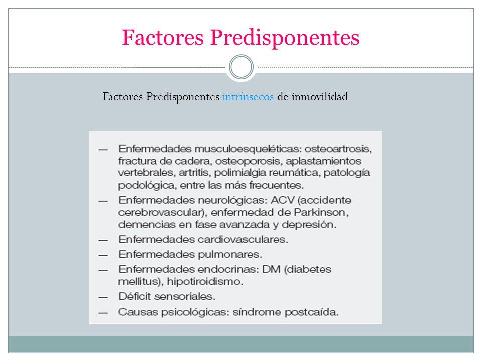 Factores Predisponentes Factores Predisponentes intrínsecos de inmovilidad