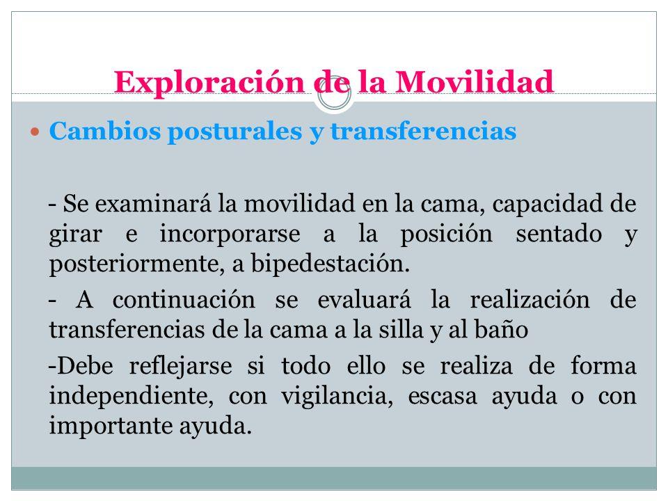 Exploración de la Movilidad Cambios posturales y transferencias - Se examinará la movilidad en la cama, capacidad de girar e incorporarse a la posició