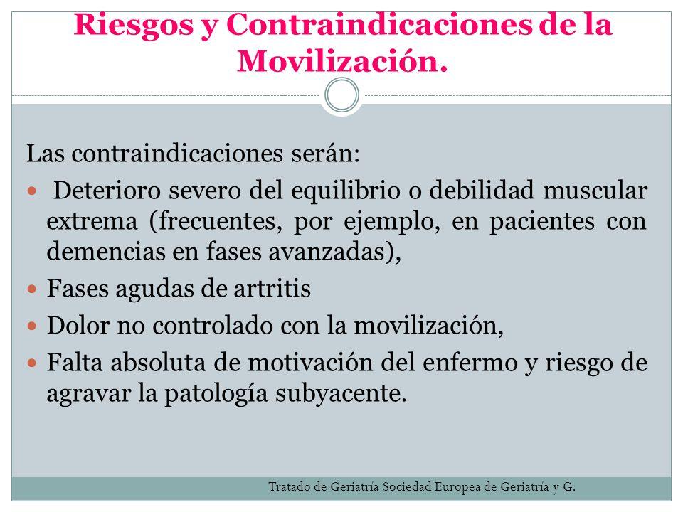 Riesgos y Contraindicaciones de la Movilización. Las contraindicaciones serán: Deterioro severo del equilibrio o debilidad muscular extrema (frecuente