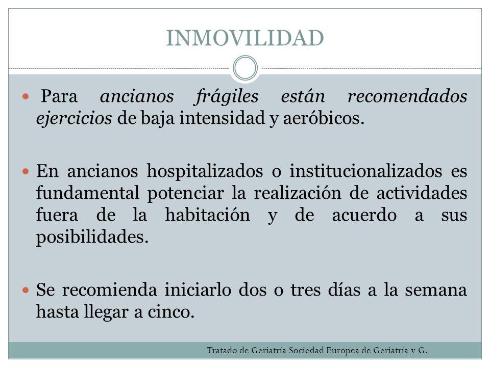 INMOVILIDAD Para ancianos frágiles están recomendados ejercicios de baja intensidad y aeróbicos. En ancianos hospitalizados o institucionalizados es f