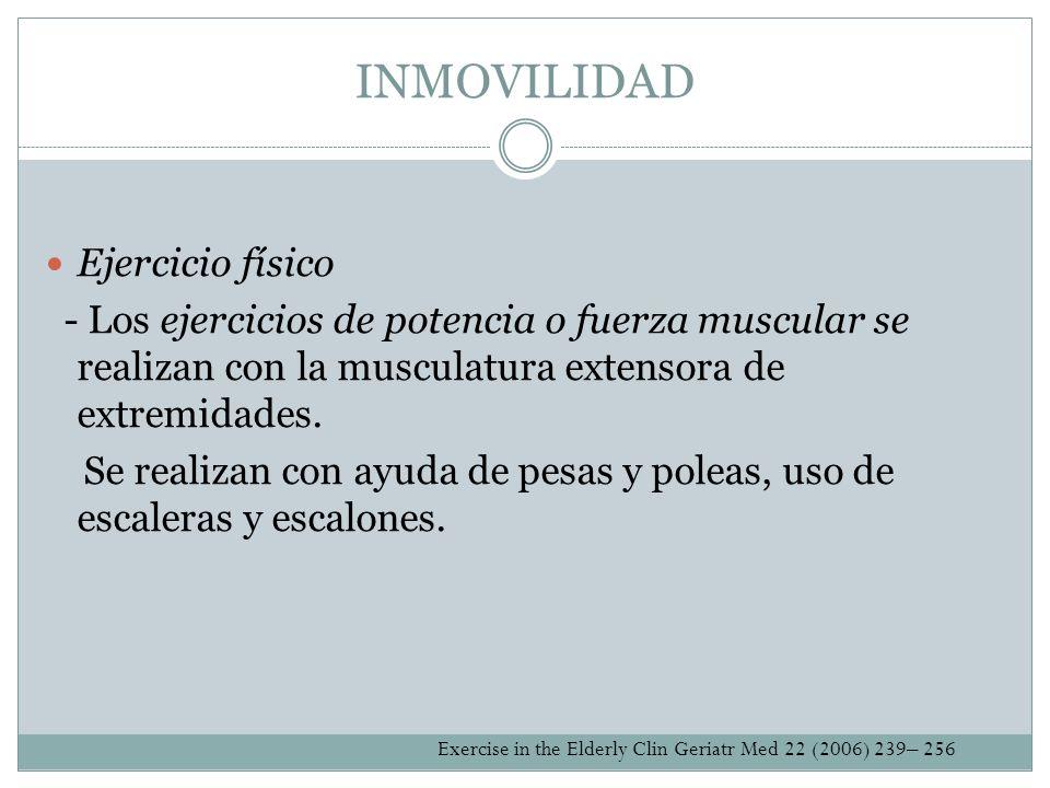 INMOVILIDAD Ejercicio físico - Los ejercicios de potencia o fuerza muscular se realizan con la musculatura extensora de extremidades. Se realizan con