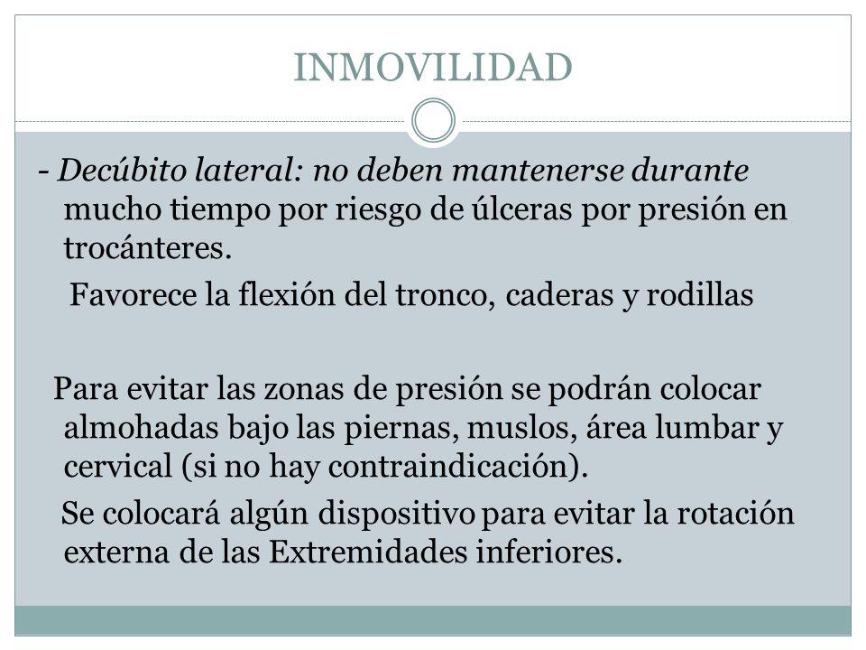 INMOVILIDAD - Decúbito lateral: no deben mantenerse durante mucho tiempo por riesgo de úlceras por presión en trocánteres. Favorece la flexión del tro