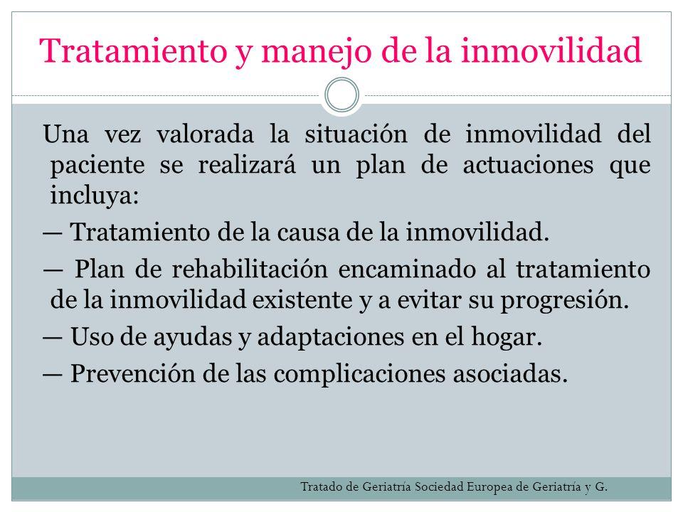 Tratamiento y manejo de la inmovilidad Una vez valorada la situación de inmovilidad del paciente se realizará un plan de actuaciones que incluya: Trat