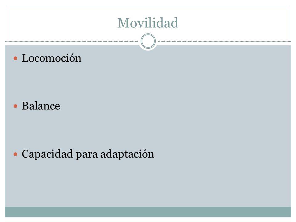 Movilidad Locomoción Balance Capacidad para adaptación