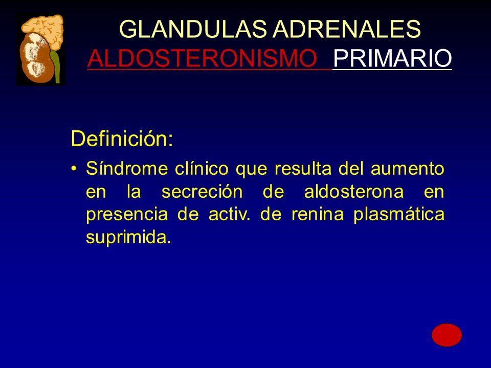 GLANDULAS ADRENALES ALDOSTERONISMO PRIMARIO Definición: Síndrome clínico que resulta del aumento en la secreción de aldosterona en presencia de activ.