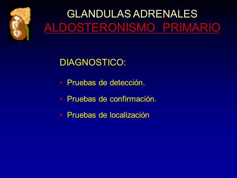 GLANDULAS ADRENALES ALDOSTERONISMO PRIMARIO DIAGNOSTICO: Pruebas de detección. Pruebas de confirmación. Pruebas de localización.