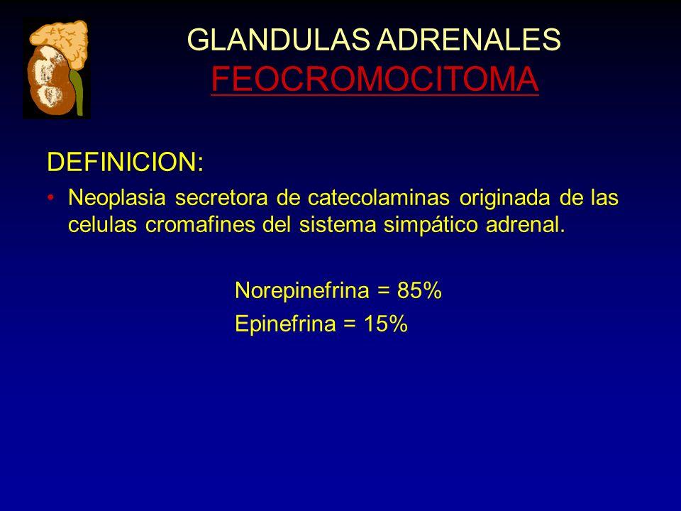 DEFINICION: Neoplasia secretora de catecolaminas originada de las celulas cromafines del sistema simpático adrenal. Norepinefrina = 85% Epinefrina = 1