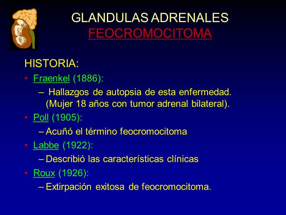 GLANDULAS ADRENALES FEOCROMOCITOMA HISTORIA: Fraenkel (1886): – Hallazgos de autopsia de esta enfermedad. (Mujer 18 años con tumor adrenal bilateral).
