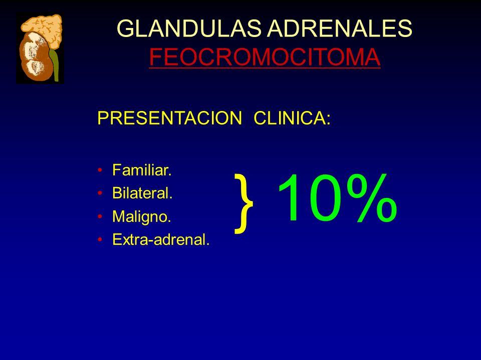 GLANDULAS ADRENALES FEOCROMOCITOMA PRESENTACION CLINICA: Familiar. Bilateral. Maligno. Extra-adrenal. } 10%