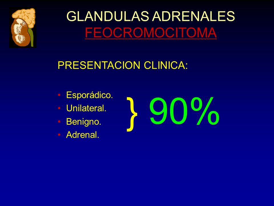 GLANDULAS ADRENALES FEOCROMOCITOMA PRESENTACION CLINICA: Esporádico. Unilateral. Benigno. Adrenal. } 90%