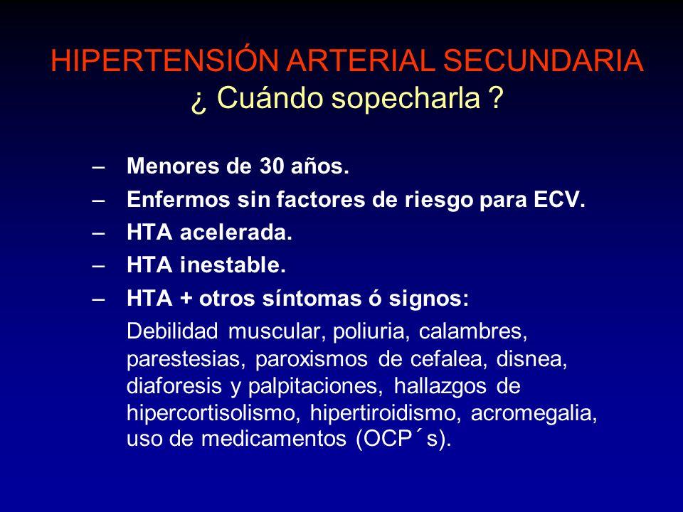 GLANDULAS ADRENALES ALDOSTERONISMO PRIMARIO HALLAZGOS DE LABORATORIO: Hipokalemia.