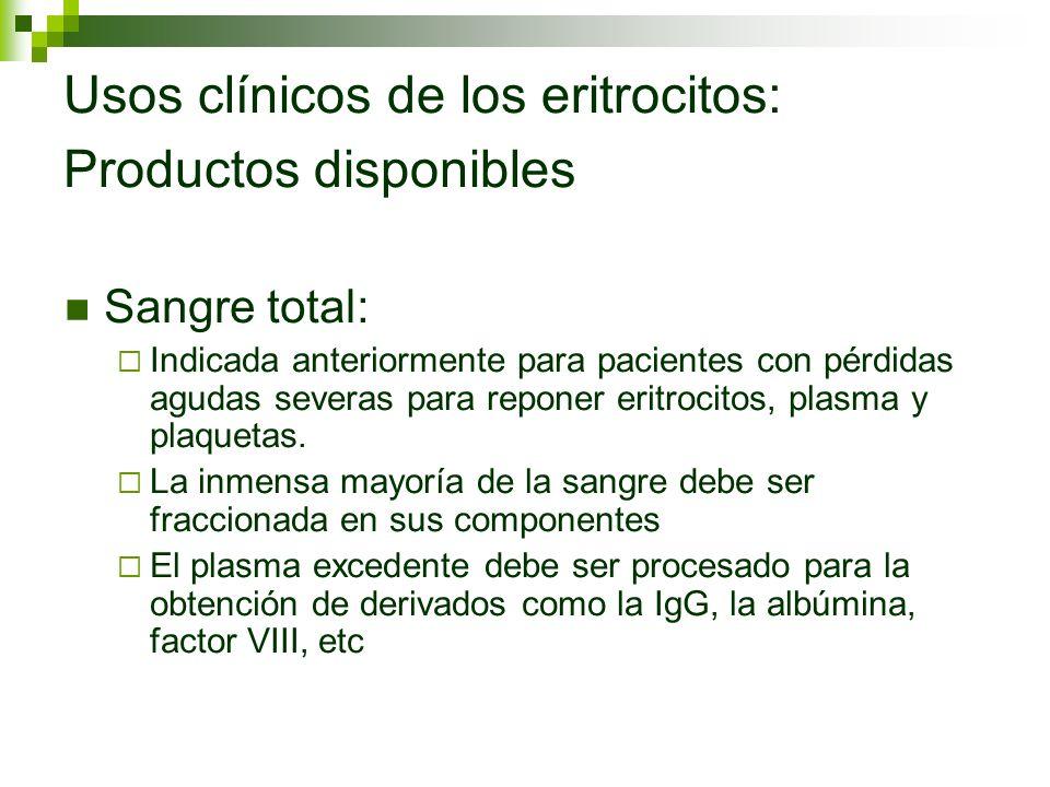 Usos clínicos de los eritrocitos: Productos disponibles Sangre total: Indicada anteriormente para pacientes con pérdidas agudas severas para reponer e