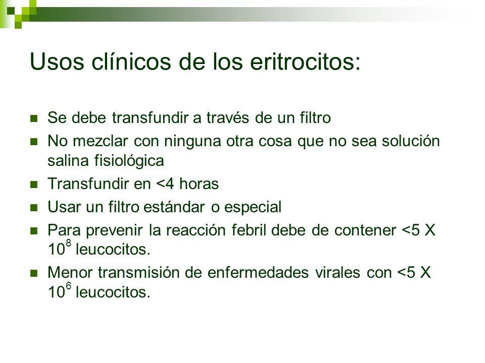 Usos clínicos de los eritrocitos: Se debe transfundir a través de un filtro No mezclar con ninguna otra cosa que no sea solución salina fisiológica Tr