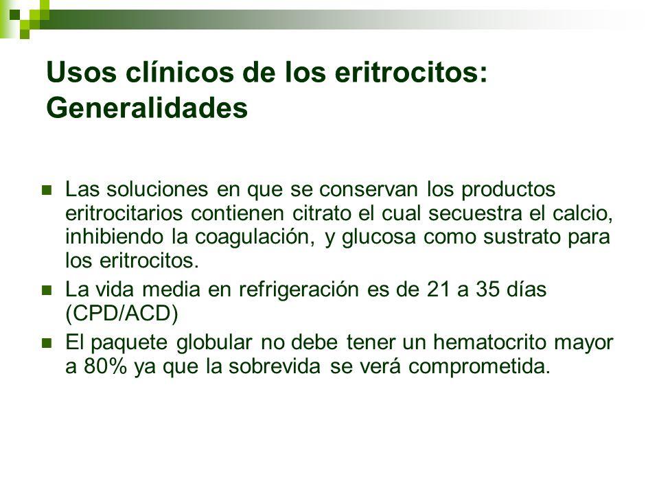 Usos clínicos de los eritrocitos: Generalidades Las soluciones en que se conservan los productos eritrocitarios contienen citrato el cual secuestra el