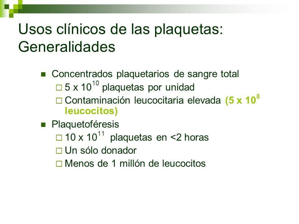 Usos clínicos de las plaquetas: Generalidades Concentrados plaquetarios de sangre total 5 x 10 10 plaquetas por unidad Contaminación leucocitaria elev