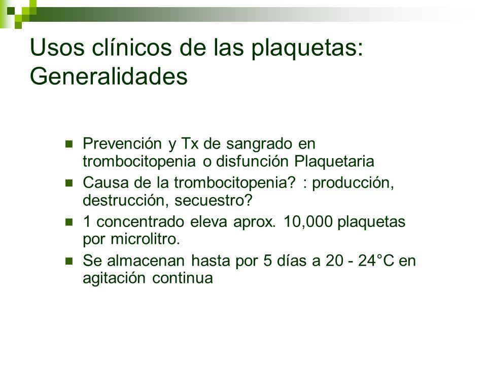 Usos clínicos de las plaquetas: Generalidades Prevención y Tx de sangrado en trombocitopenia o disfunción Plaquetaria Causa de la trombocitopenia? : p
