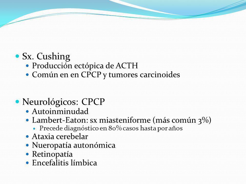 Sx. Cushing Producción ectópica de ACTH Común en en CPCP y tumores carcinoides Neurológicos: CPCP Autoinminudad Lambert-Eaton: sx miasteniforme (más c