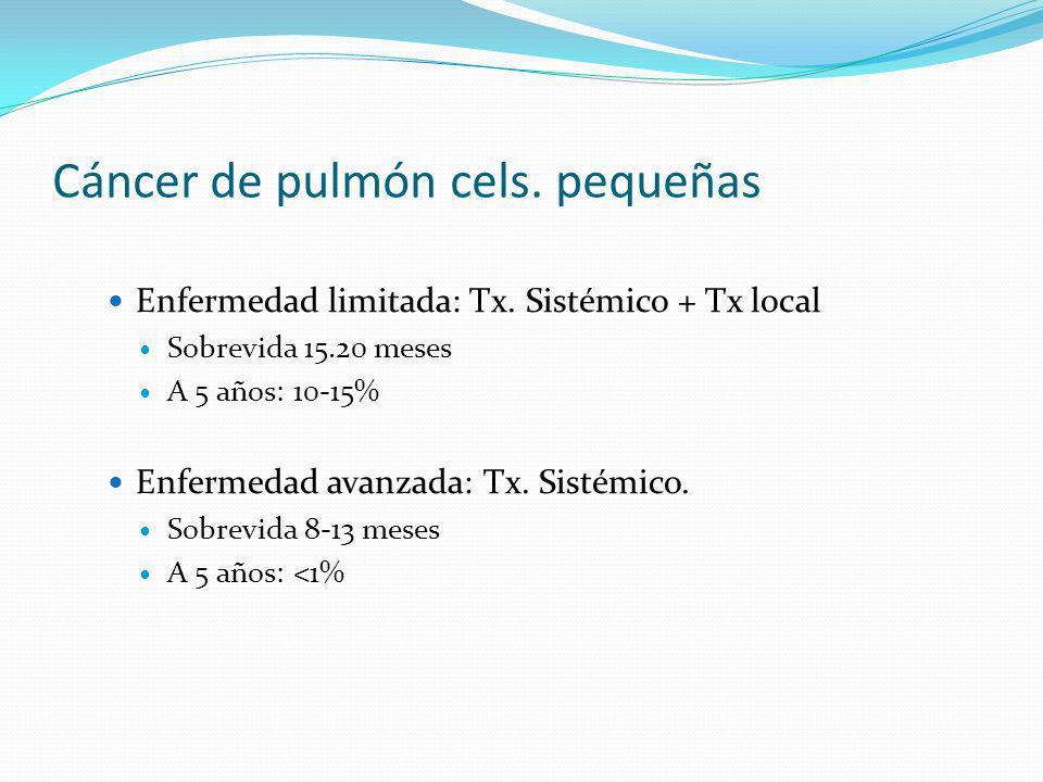 Cáncer de pulmón cels. pequeñas Enfermedad limitada: Tx. Sistémico + Tx local Sobrevida 15.20 meses A 5 años: 10-15% Enfermedad avanzada: Tx. Sistémic