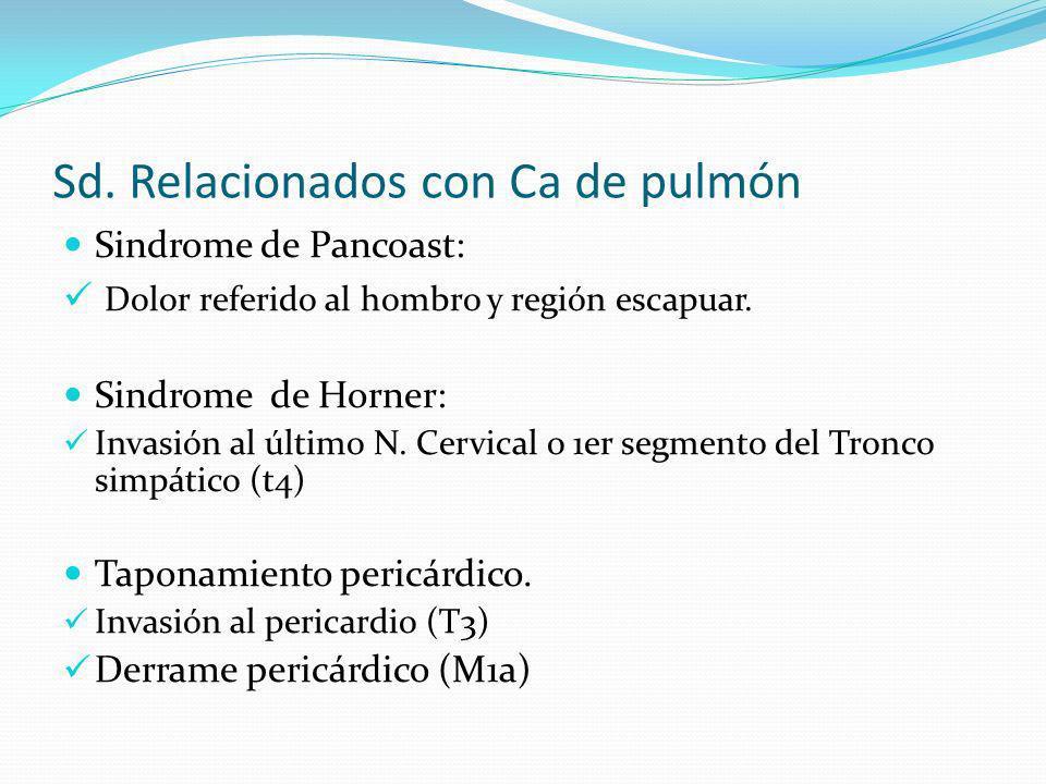 Sd. Relacionados con Ca de pulmón Sindrome de Pancoast: Dolor referido al hombro y región escapuar. Sindrome de Horner: Invasión al último N. Cervical