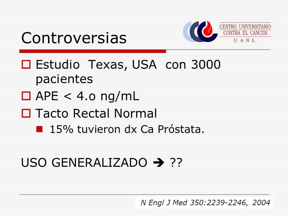 Controversias Estudio Texas, USA con 3000 pacientes APE < 4.o ng/mL Tacto Rectal Normal 15% tuvieron dx Ca Próstata. USO GENERALIZADO ?? N Engl J Med