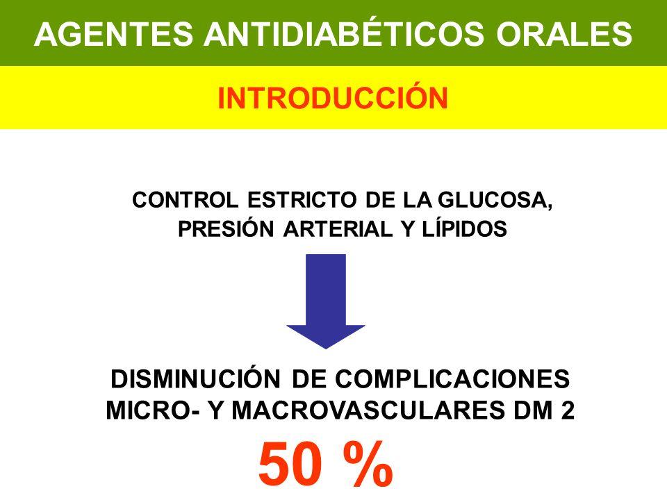 AGENTES ANTIDIABÉTICOS ORALES INTRODUCCIÓN CONTROL ESTRICTO DE LA GLUCOSA, PRESIÓN ARTERIAL Y LÍPIDOS DISMINUCIÓN DE COMPLICACIONES MICRO- Y MACROVASC