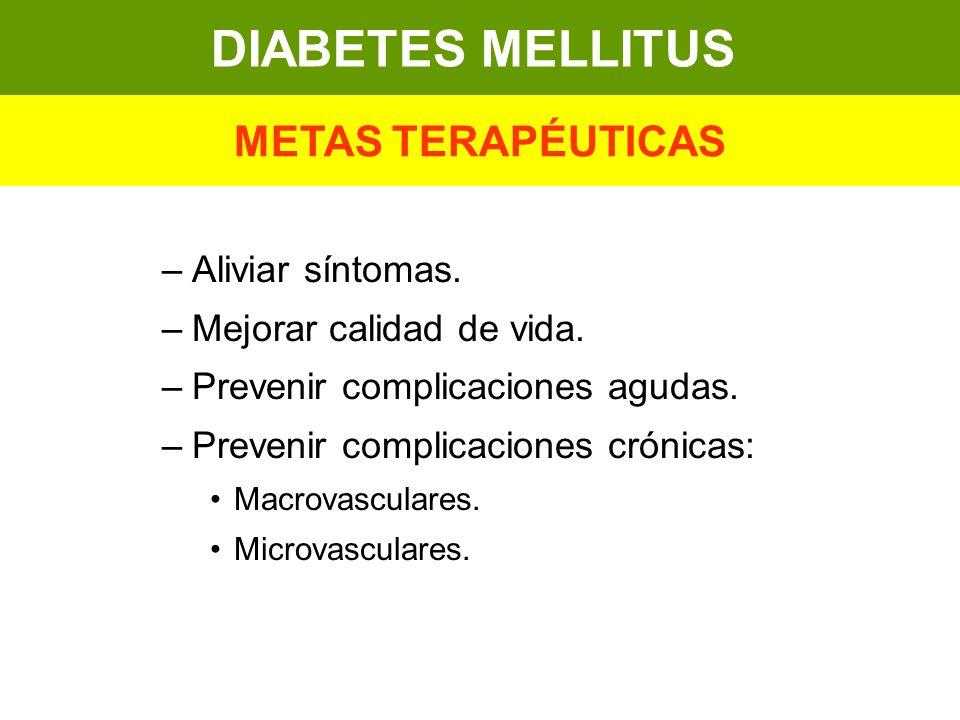 –Aliviar síntomas. –Mejorar calidad de vida. –Prevenir complicaciones agudas. –Prevenir complicaciones crónicas: Macrovasculares. Microvasculares. DIA
