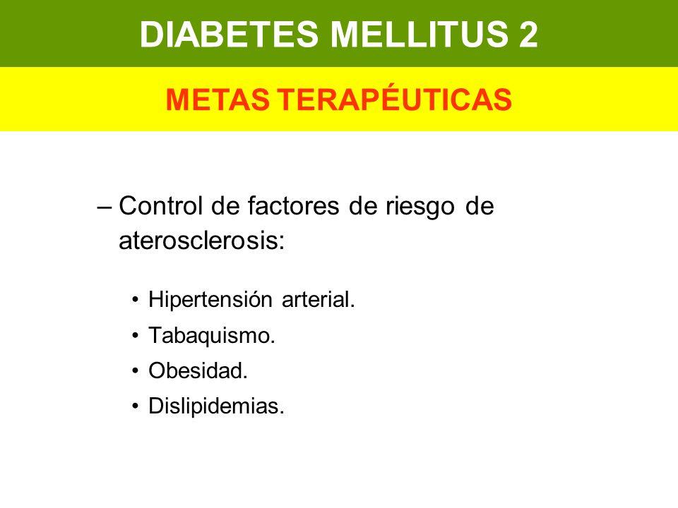 –Control de factores de riesgo de aterosclerosis: Hipertensión arterial. Tabaquismo. Obesidad. Dislipidemias. DIABETES MELLITUS 2 METAS TERAPÉUTICAS