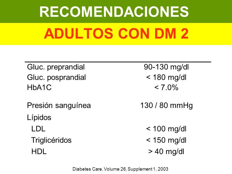 RECOMENDACIONES ADULTOS CON DM 2 < 100 mg/dl < 150 mg/dl > 40 mg/dl Lípidos LDL Triglicéridos HDL 130 / 80 mmHgPresión sanguínea 90-130 mg/dl < 180 mg