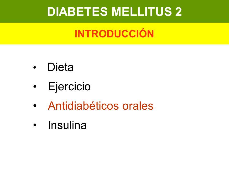 Dieta Ejercicio Antidiabéticos orales Insulina DIABETES MELLITUS 2 INTRODUCCIÓN