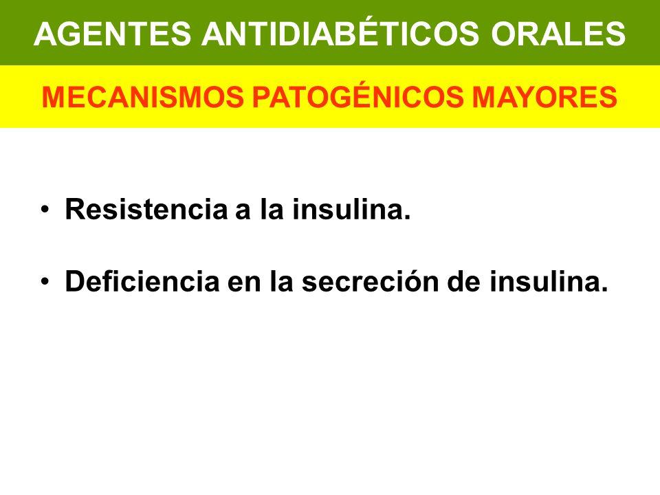 Resistencia a la insulina. Deficiencia en la secreción de insulina. AGENTES ANTIDIABÉTICOS ORALES MECANISMOS PATOGÉNICOS MAYORES