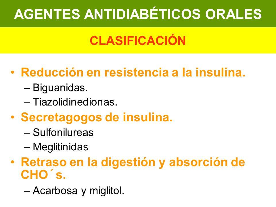 Reducción en resistencia a la insulina. –Biguanidas. –Tiazolidinedionas. Secretagogos de insulina. –Sulfonilureas –Meglitinidas Retraso en la digestió
