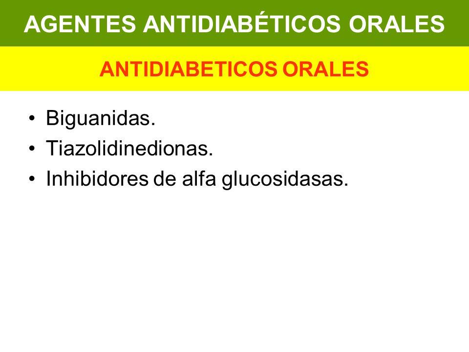 Biguanidas. Tiazolidinedionas. Inhibidores de alfa glucosidasas. AGENTES ANTIDIABÉTICOS ORALES ANTIDIABETICOS ORALES