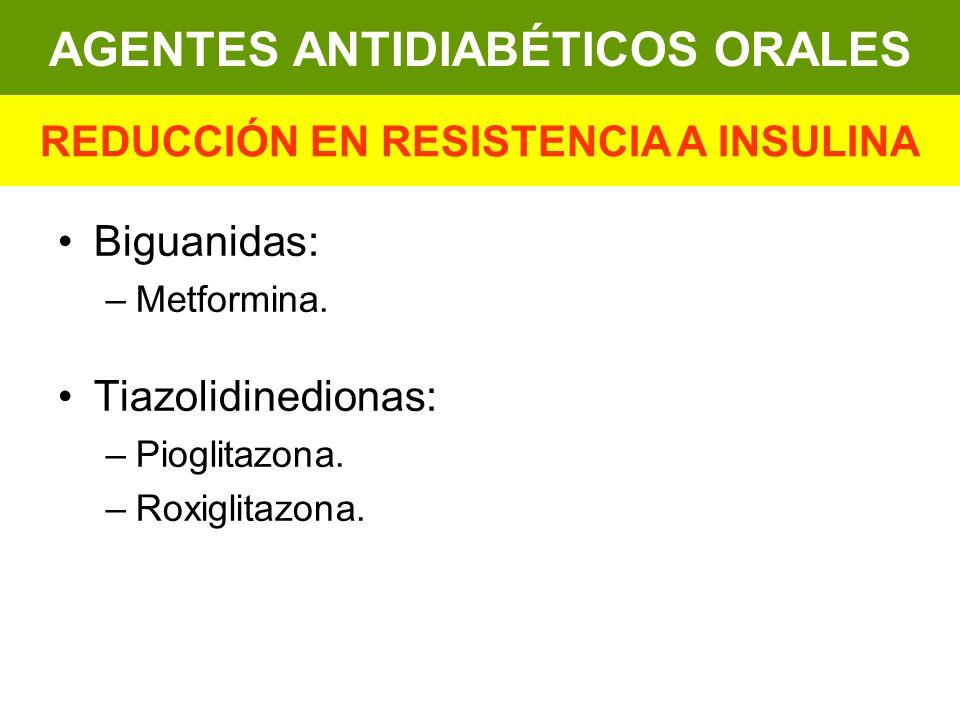 Biguanidas: –Metformina. Tiazolidinedionas: –Pioglitazona. –Roxiglitazona. AGENTES ANTIDIABÉTICOS ORALES REDUCCIÓN EN RESISTENCIA A INSULINA