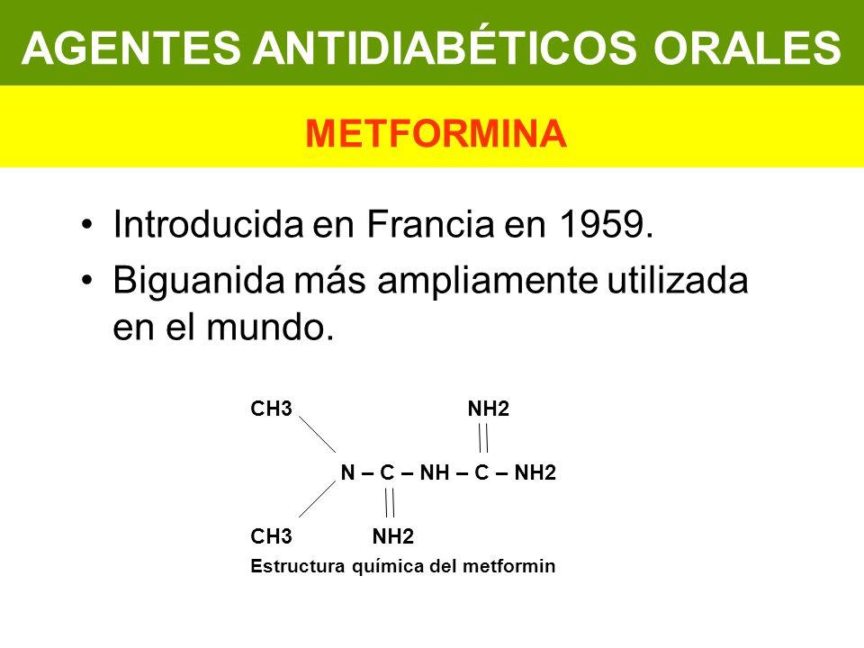 Introducida en Francia en 1959. Biguanida más ampliamente utilizada en el mundo. CH3 NH2 N – C – NH – C – NH2 CH3 NH2 Estructura química del metformin