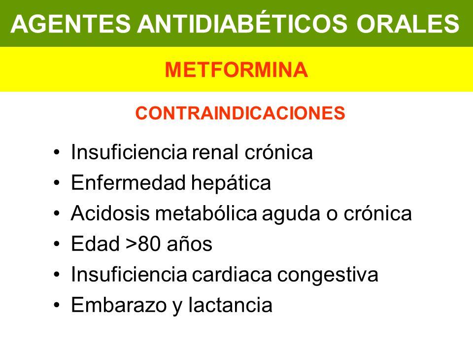 Insuficiencia renal crónica Enfermedad hepática Acidosis metabólica aguda o crónica Edad >80 años Insuficiencia cardiaca congestiva Embarazo y lactanc