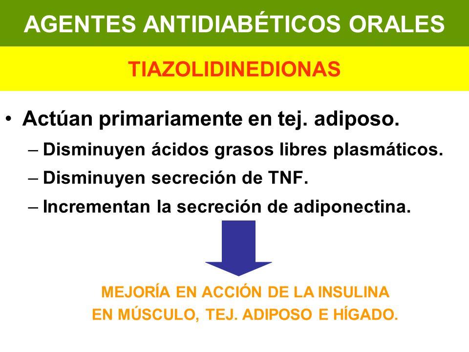 Actúan primariamente en tej. adiposo. –Disminuyen ácidos grasos libres plasmáticos. –Disminuyen secreción de TNF. –Incrementan la secreción de adipone