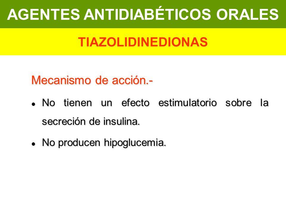 Mecanismo de acción.- No tienen un efecto estimulatorio sobre la secreción de insulina. No tienen un efecto estimulatorio sobre la secreción de insuli
