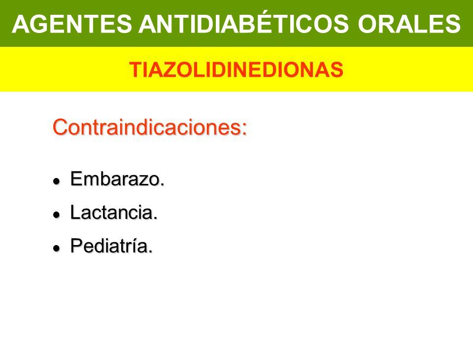 Contraindicaciones: Embarazo. Embarazo. Lactancia. Lactancia. Pediatría. Pediatría. AGENTES ANTIDIABÉTICOS ORALES TIAZOLIDINEDIONAS