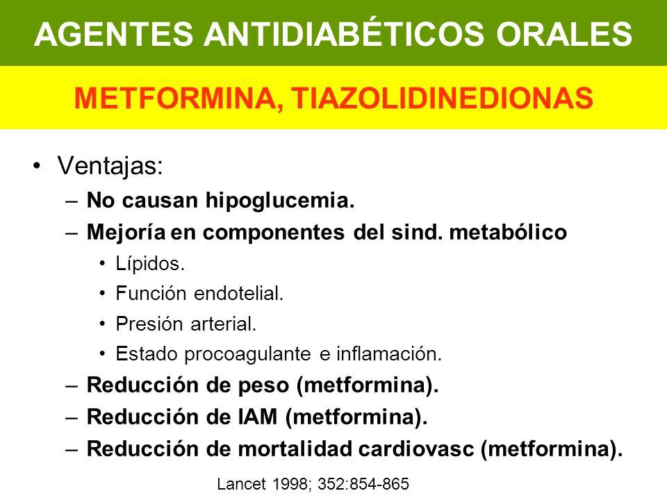 Ventajas: –No causan hipoglucemia. –Mejoría en componentes del sind. metabólico Lípidos. Función endotelial. Presión arterial. Estado procoagulante e